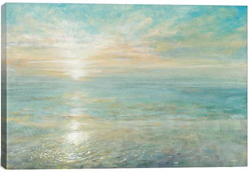 Sunrise over the Sea Pastel Painting Art on Canvas