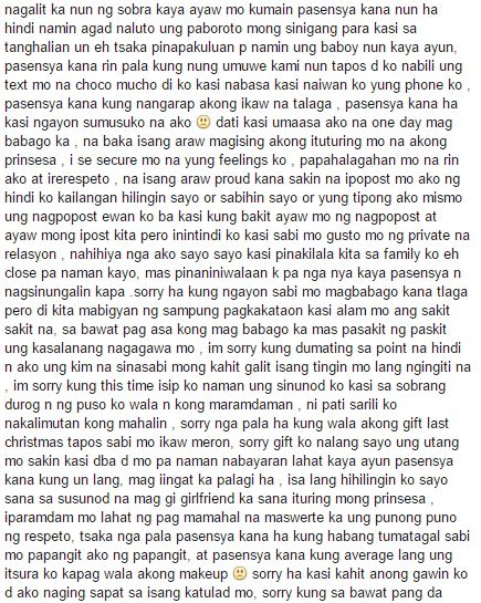 READ Kim Ilagans Goodbye Letter To Her ExBoyfriend LackFeed