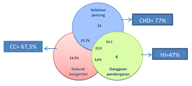 Gambaran kumpulan gelaja kasus CRS dari 13 RS sentinel Indonesia 2015 – 2016, congenital cataracts, katarak kongenital 67,5% 27,7% 13,3% 3,6% 22,9% kelainan jantung 12% Chronic congenital heart disease 77% 14,5% gangguan pendengaran 6% hearing impairment 47%