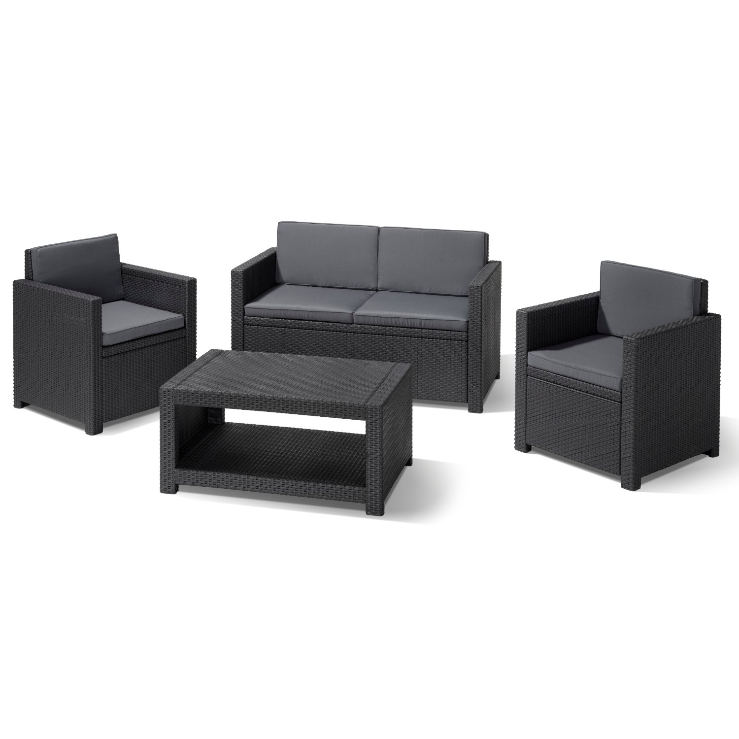 lounge gartenm bel allibert 183313 lounge set monaco set rattanoptik kunststoff anthrazit. Black Bedroom Furniture Sets. Home Design Ideas