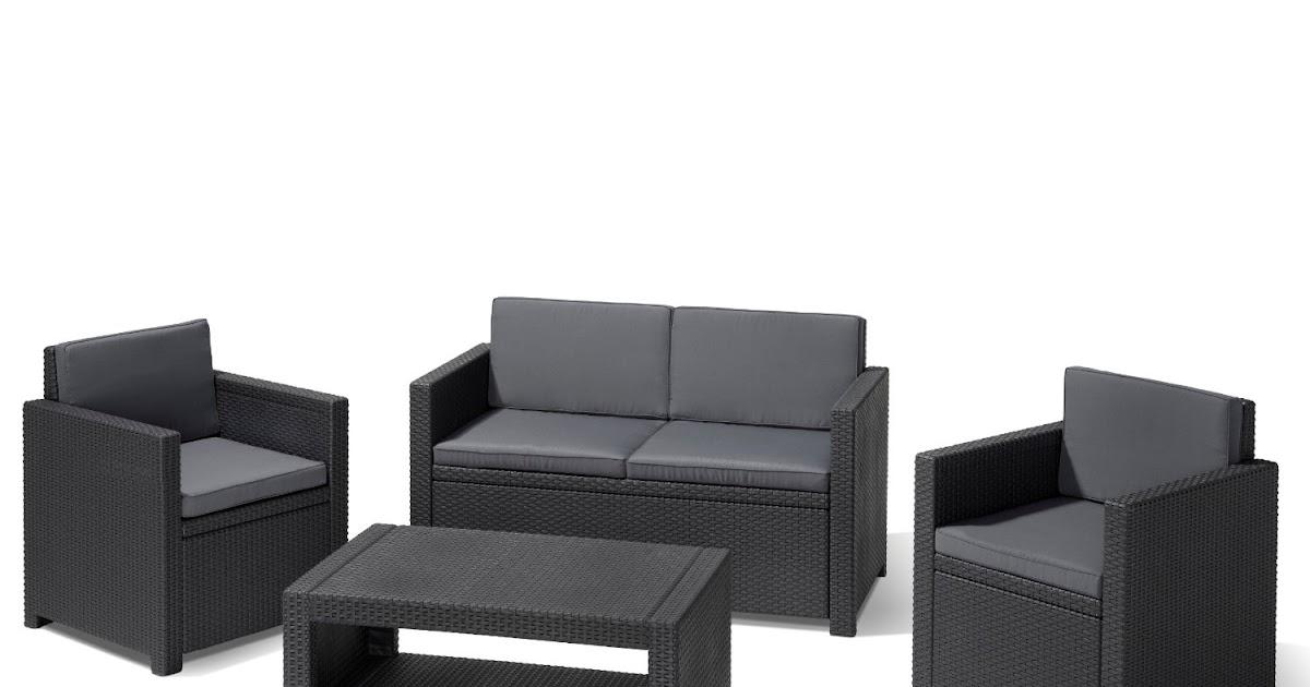 lounge gartenm bel allibert 183313 lounge set monaco set rattanoptik kunststoff anthrazit. Black Bedroom Furniture Sets. Home Design Ideas