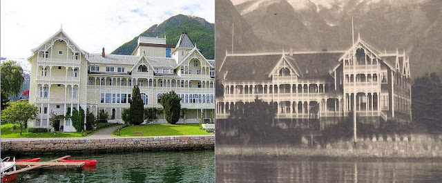 Norway: Then and Now. Here's a side-by-side comparison of the Kviknes Hotel in Balestrand. The photo on the left shows a modern-day view while the photo on the right shows the original building that was completed in 1894. In 1912, the 1894 building was extended westward to complete the inn as we see it today. Photography: Left - Courtesy of Kviknes Hotel. Right - Nelson Minar.