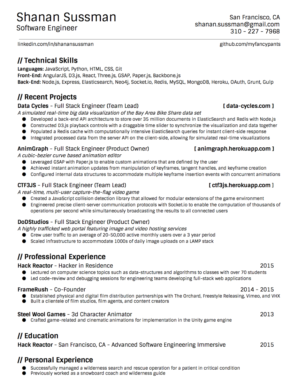 Shanan Sussman: Resume