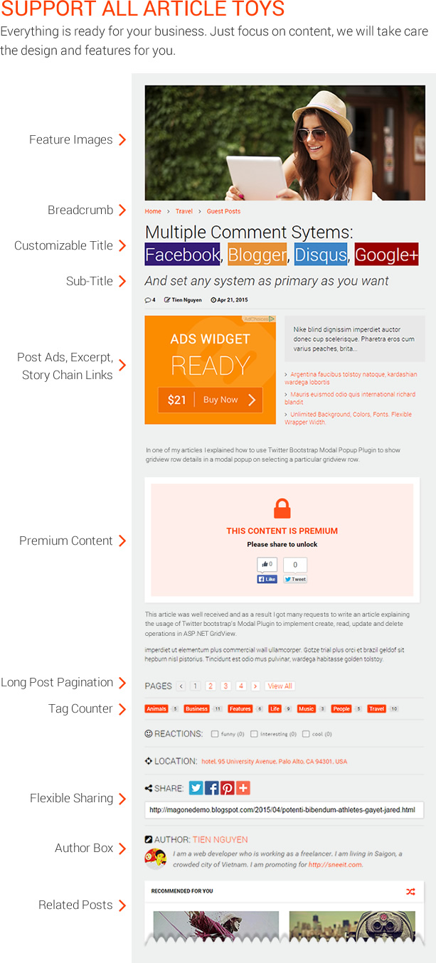 Support All Article Toys - MagOne - Magazine Blogger Template