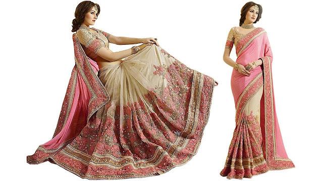 Panash Trends Embroidered Fashion Chiffon, Net Saree  (Cream, Beige)