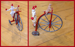 Bicycle Decoration; Bicycles; Budgie Models; Budgie Toys; Clown Figurine; Clowning Dog; Clowning Figure; Cyclist; Die Cast Toy; Mazac; Mazac-Alloy Clown and Cycle; Morestone; Penny Fathing; Penny-Farthing; Perfoming Dog; Small Scale World; smallscaleworld.blogspot.com; Toy Bicycle; Toy Dog; Zamac; Zamak;