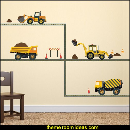 Construction Vehicles wall decals  construction theme bedrooms - Lego bedroom furniture - construction trucks theme bedroom  -  Lego theme bedroom decorating - boys bedrooms construction themed LEGO furniture  - under construction building site - construction themed  bedroom decor - Lego bedroom decor ideas - primary color bedroom ideas - Tool belt theme