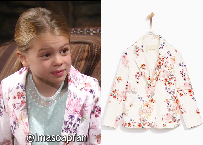 Charlotte Cassadine, Scarlett Fernandez, Multicolored Floral Blazer, Zara, GH, General Hospital, Season 55, Episode 06/05/17