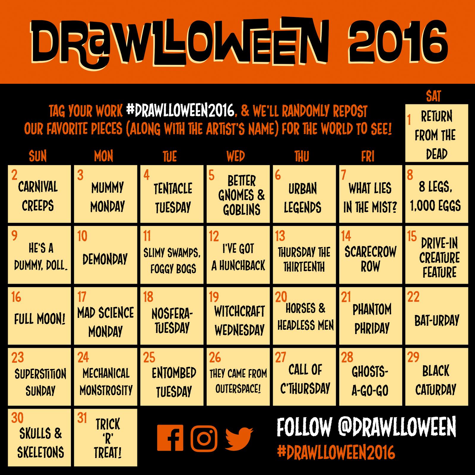 Calendar Drawing Ideas : Drawlloween the calendar is here