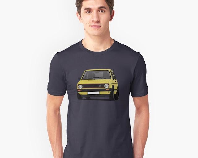 VW Golf I GTI - retro car  t-shirt - yellow