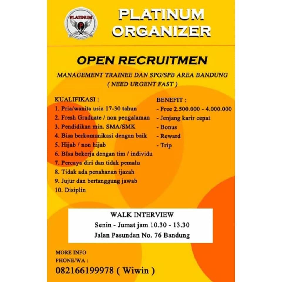 Lowongan Kerja Platinum Organizer Bandung Januari 2019