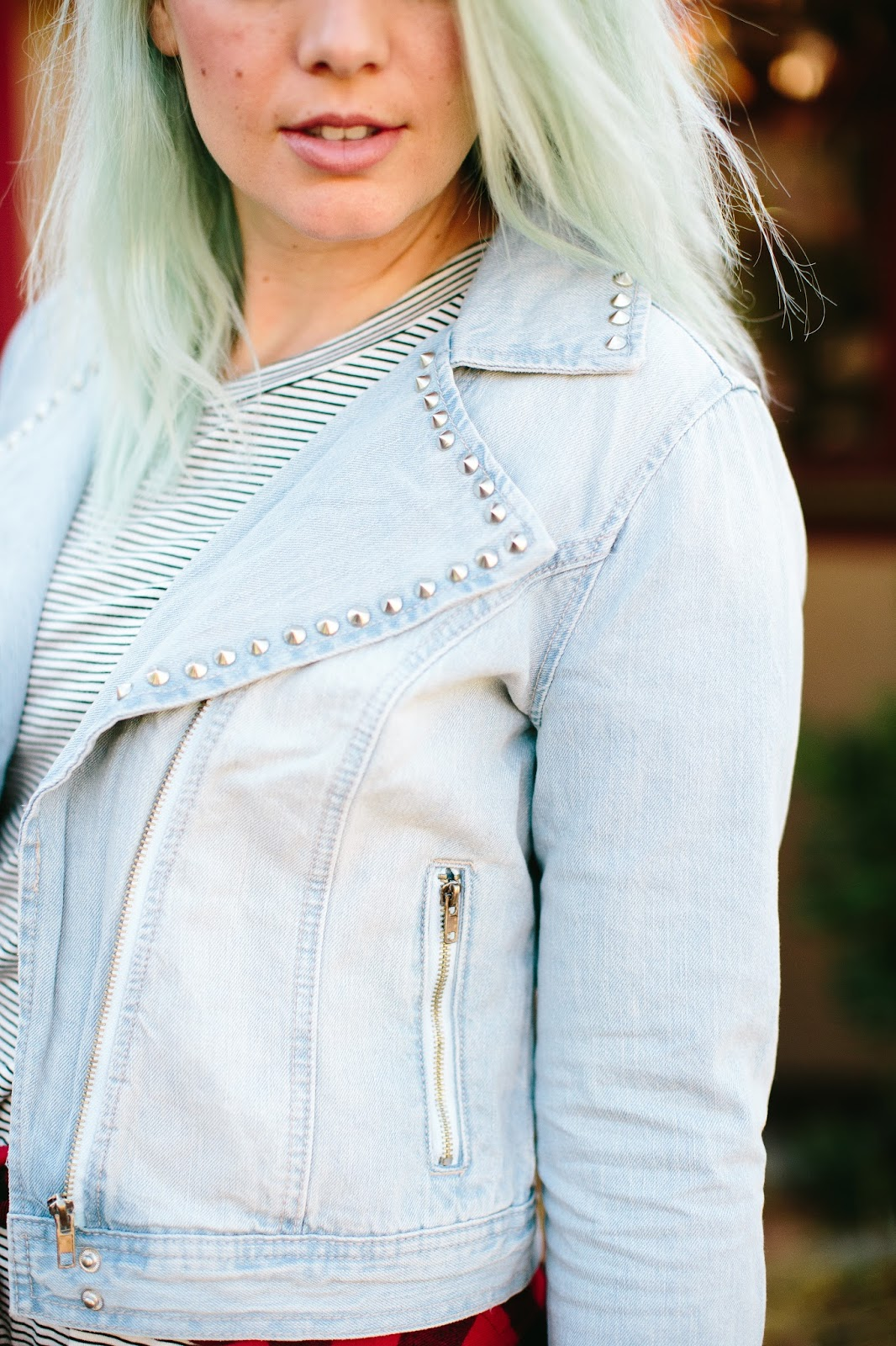 studs, jean jacket, fashion blogger
