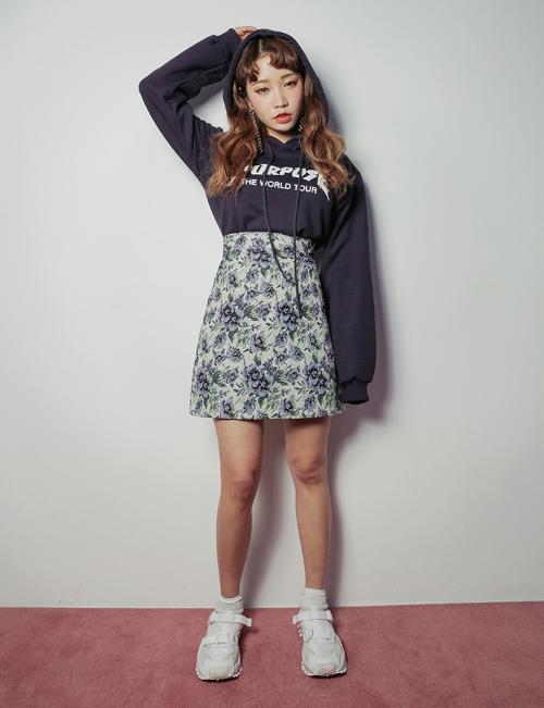 A-Line Floral Mini Skirt