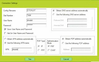 Etisalat Connection settings