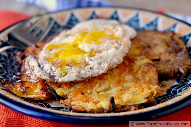 a plate of carrot and celeriac fritters topped with a fried egg