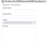 Tejas Express : Feedback form by Konkan Railway