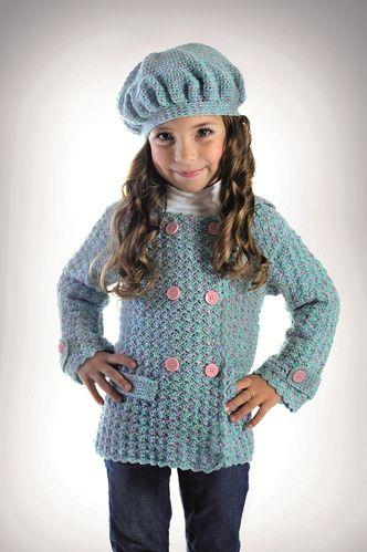 Conjunto de jaqueta e boina de crochê para menina com receita, gráfico, pattern