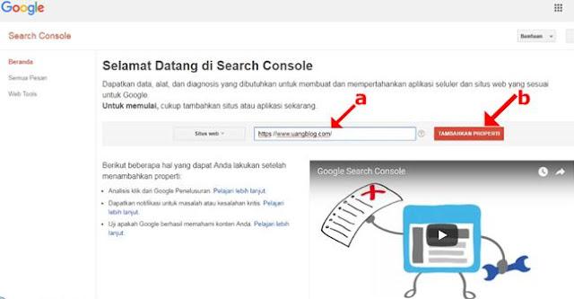 Masukkan Alamat URL Blog dan Klik Tambahkan Properti