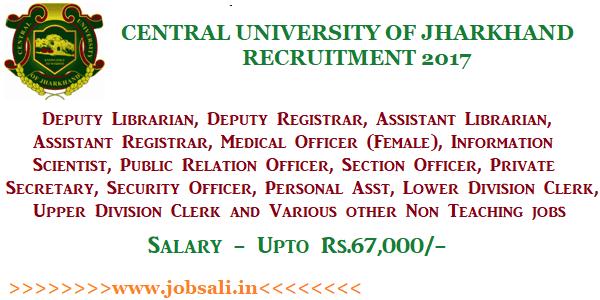 CUJ Vacancy, non teaching jobs, Govt jobs in Jharkhand