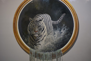 Tiger coming out of water