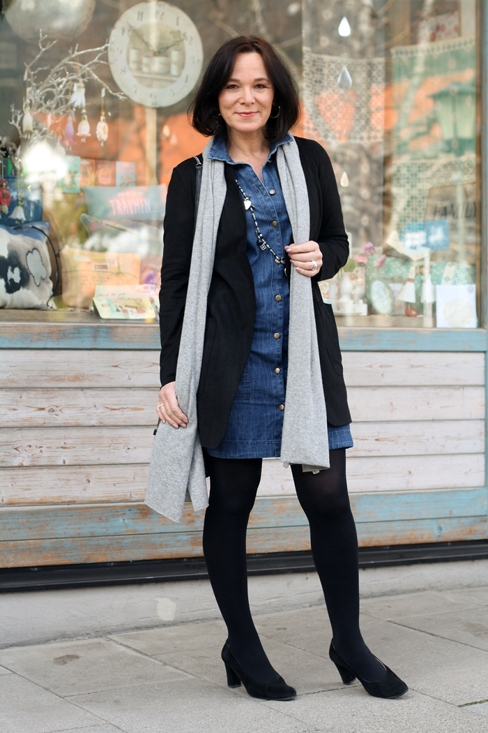 How To Style A Mini Denim Dress Over 50 Styling Series