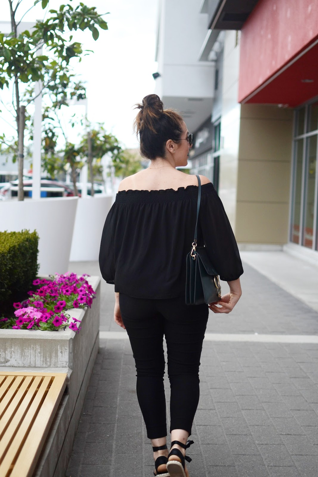 Le Chateau Off the shoulder shirt tie up espadrilles outfit Chloe Faye bag Vancouver fashion blogger cute summer first date outfit