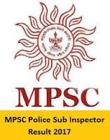 MPSC Police Sub Inspector Result 2017