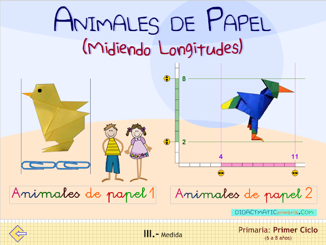 Animales de papel. Midiendo longitudes.
