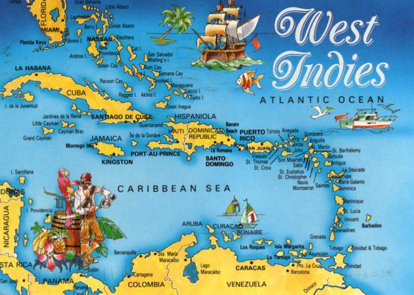 Postcards Around the World: Map card of the West Indies