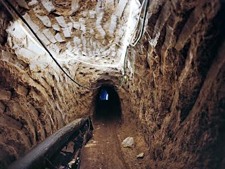 bombed Gaza tunnel