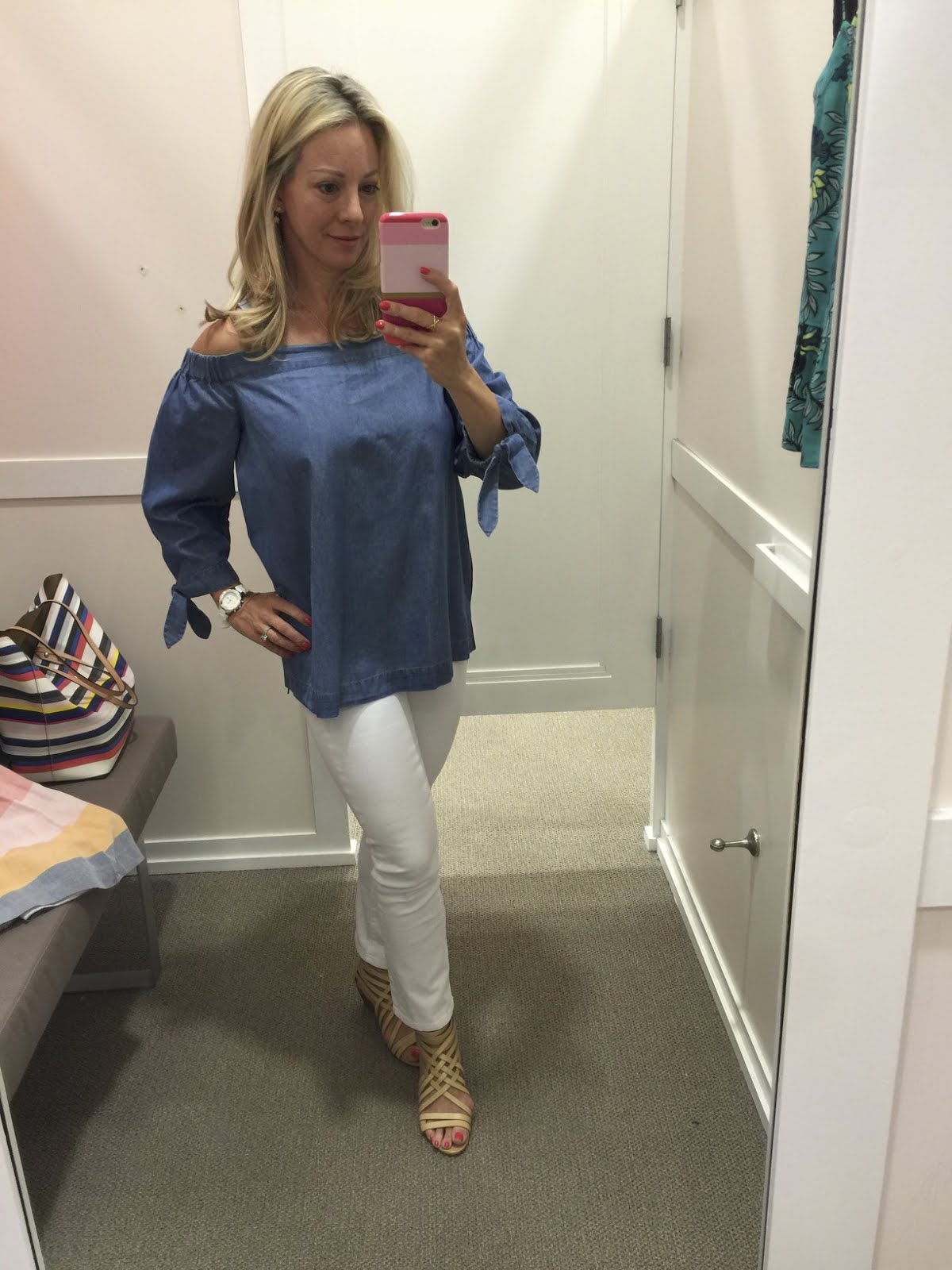 9ec8850050795b Summer Fashion -chambray off the shoulder top and white jeans  outfit   outfitinspo ...