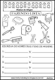 Lista itens higiene grupo semântico alfabetização