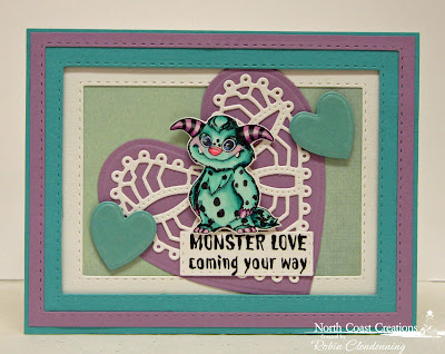North Coast Creations Stamp Set: Little Monsters, North Coast Creations Custom Dies: Monster, Our Daily Bread Designs Custom Dies:Ornate Hearts, Double Stitched Rectangles
