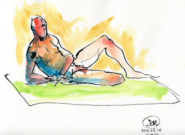 Five minute pen and watercolour sketch of a male nude by David Meldrum