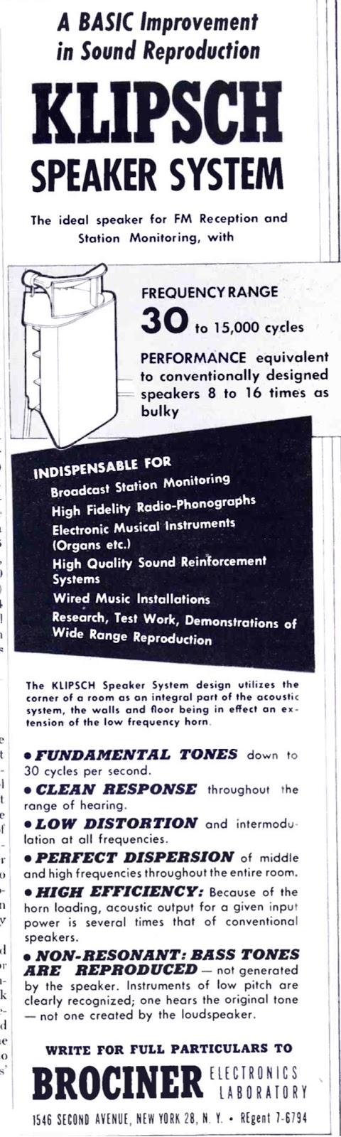 Brociner Klipsch Speaker System