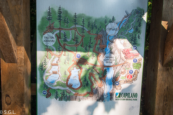 Mapa Capilano Suspension Bridge Park. Visitando Vancouver