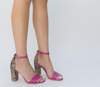 sandale roz elegante de zi cu toc gros