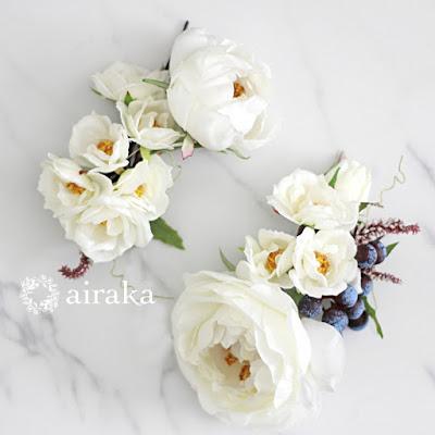イングリッシュローズの髪飾り(白)_ウェディングブーケと花髪飾りairaka