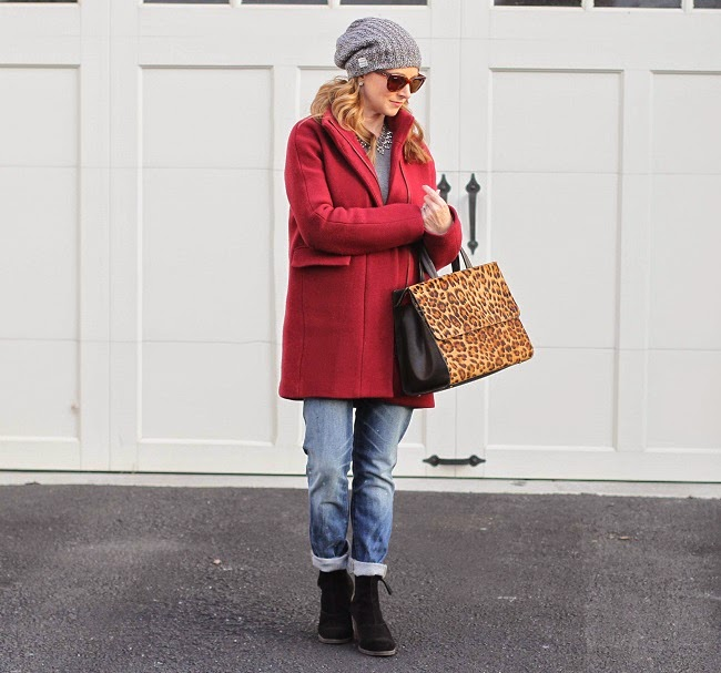 madewell beanie, ray ban sunglasses, jcrew sweater, jcrew wool coat, madewell jeans, dolce vita booties, boden handbag, nordstrom earrings