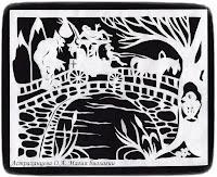 силуэтная иллюстрация, Пратчетт, главный Библиотекарь, орангутан, волшебники, мост, тролль, карета, лошадь