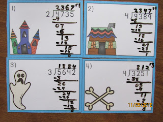 FREEBIE Long Division Haunted House Task Cards