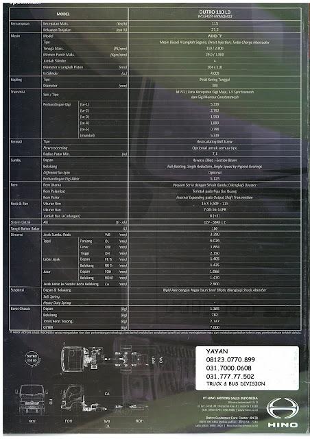 spesifikasi truk hino dutro 110 ld