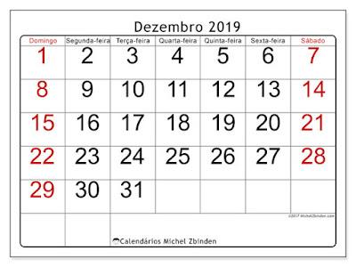 Calendário dezembro/2019