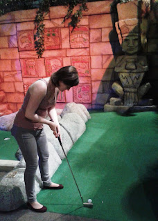 Emily Gottfried playing hole 10 at The Lost City Adventure Golf course in Nottingham