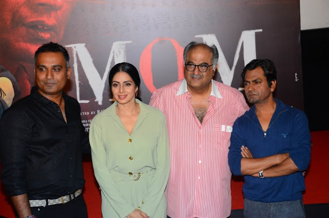 Boney Kapoor, Sridevi, Jhanvi and Khushi at Mom Movie Trailer Launch