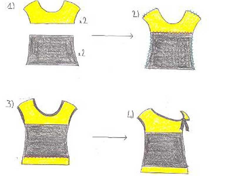 Camiseta tuneada con encaje con 2 cortes