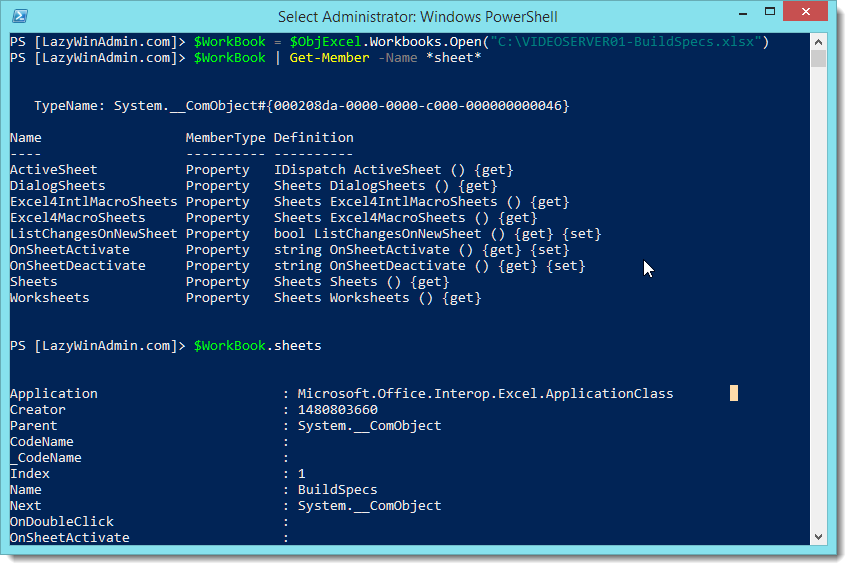 PowerShell - Read an Excel file using COM Interface