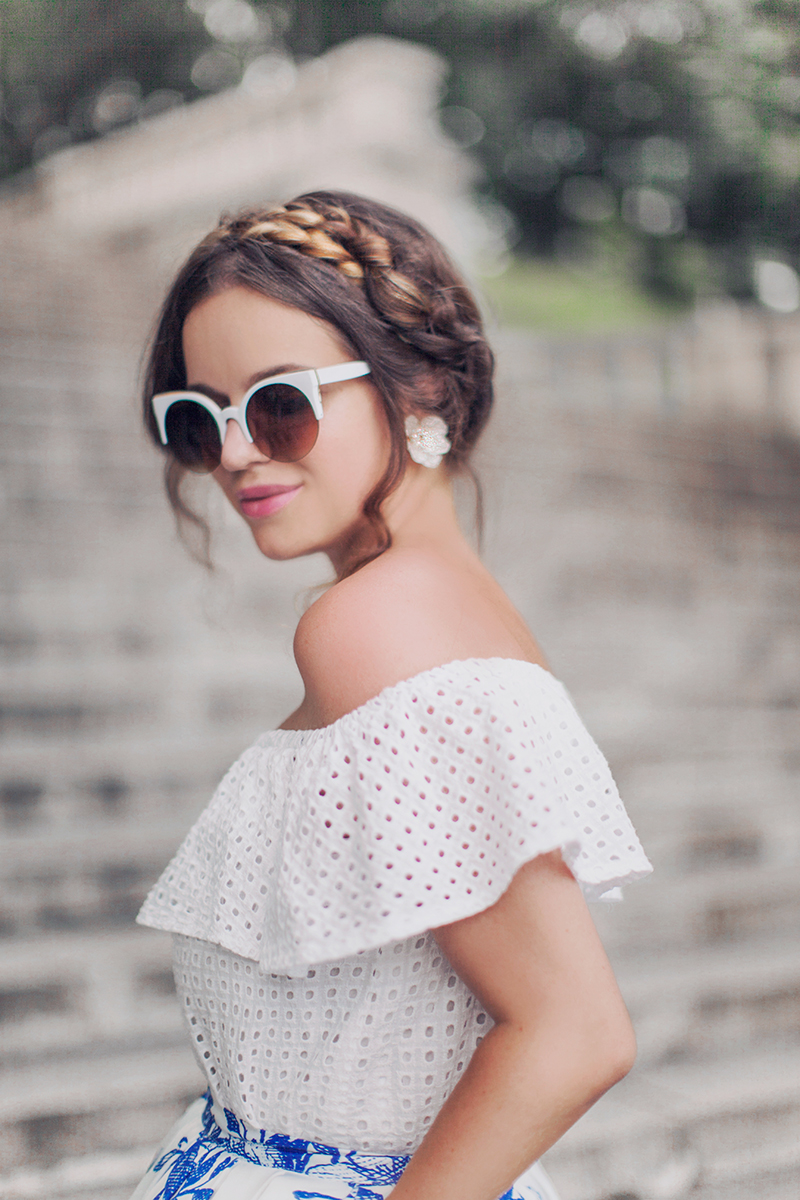 Fashion Union Sleeveless Frill Top in Geo Lace