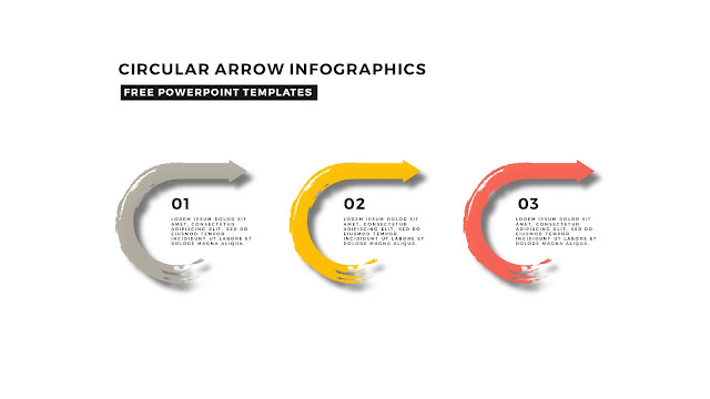 Circular Brush Stroke and Arrow Infographic Free PowerPoint Template Slide 8