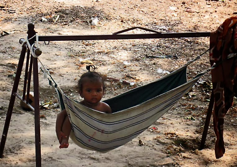 poor child in a hammock